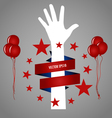Hand with ribbon vector image