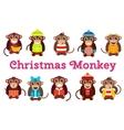 Happy cartoon monkey dancing party birthday vector image