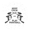 Paintball related poster with two crossed guns and vector image