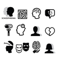 Schizophrenia mental health psychology icons vector image
