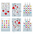 set of six greeting cadrs vector image