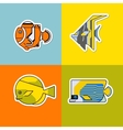set of stylized fish vector image