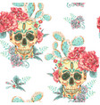 vintage seamless pattern with skull and vector image