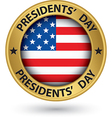 Presidents day gold label with USA flag vector image