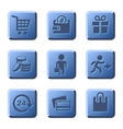 Blue Shopping Icons Set vector image vector image