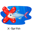 Cartoon X of letter X-ray fish vector image vector image