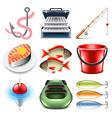 Fishing icons set vector image vector image