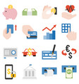 bank products and financial service icons set vector image