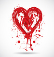 Grunge background with bright red heart paint vector image