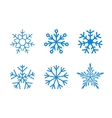 Isolated set of snowflakes on white vector image