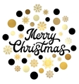 Merry Christmas black hand lettering inscription vector image