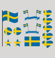 sweden flag set collection of symbols heart vector image