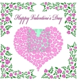 Vintage valentines card with rose heart vector image