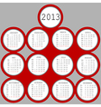 2013 red circles calendar vector image vector image