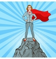 Pop Art Business Woman on the Mountain Peak vector image