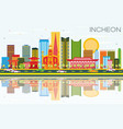 incheon skyline with color buildings blue sky and vector image