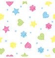 colorful shapes - heart flower and star seamless vector image vector image