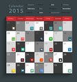 Calendar 2015 Modern business flat icons set vector image