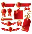 golden red signs and labels vector image vector image
