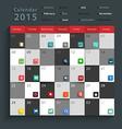 Calendar 2015 Modern business flat icons set vector image
