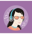 Handsome young man in headphones vector image