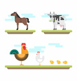 Set of Cute Flat Style Farm Animals Horse Cow vector image