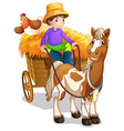 A farmer riding in his wooden cart with a horse Vector Image