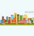 incheon skyline with color buildings and blue sky vector image