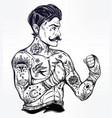 flash tattoo boxer fighter player vintage style vector image