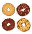 four donut decorated with chocolate chips and vector image