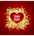 Golden glitter heart red background template vector image