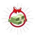 Money prize offer win pile of cash bundle vector image
