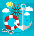 Sunny weather at the sea swim in the boat with a vector image