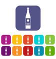 wine bottle icons set vector image
