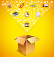 Opened parcel box and many logistics icons falling vector image