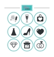 Wedding engagement icons Locker with heart vector image
