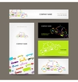 Business cards collection with cars sketch for vector image