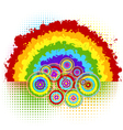 rainbow and circles vector image