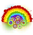 rainbow and circles vector image vector image