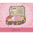 baby girl arrival card with suitcase vector image vector image