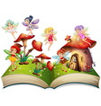 Fairies flying around the mushroom house vector image