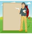 golfer showing something on blank board vector image vector image