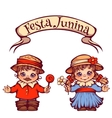 Brazilian Festa Junina Party girl and boy with vector image