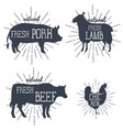 farm animals icons set collection of labels vector image