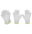 Pair of white fabric working gloves vector image