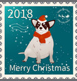 postage stamp with chihuahua 1 vector image