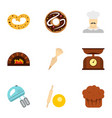 bakery process icons set flat style vector image