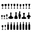 glasses and bottles of wine 2 vector image vector image