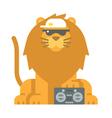 Flat design cool lion vector image vector image