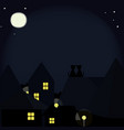 cats on the roofs of the night city vector image
